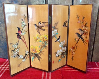Rare, Beautiful, Vintage four Panel miniature Divider Hand Painted and Etched