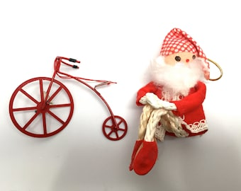 Vintage Christmas Ornaments, Santa, Bicycle, 1960, Taiwan, Japan