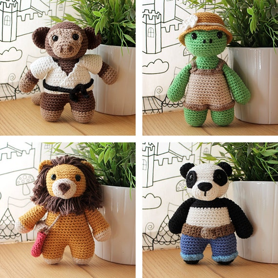 Animals: Monkey, Turtle, Lion & Panda. Amigurumi Pattern PDF.