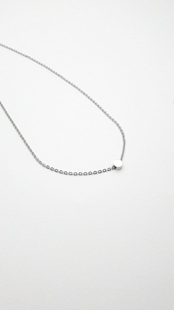 Silver tiny round charm necklace silver plated stainless steel 5 mm//Hypoallergenic necklace//Dot bead necklace//Minimal round necklace
