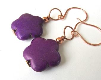 Deep Purple Magnesite Gemstone Beaded EARRINGS, Copper, Dangles,