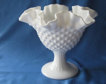 Fenton Milk White Hobnail Footed Bowl With Ruffled Edge