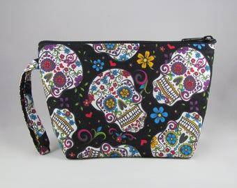Calavera Makeup Bag - Sugar Skulls - Accessory - Cosmetic Bag - Pouch - Toiletry Bag - Gift