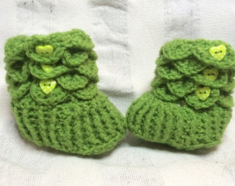 Handmade Crochet  Crocodile Stitch  Baby Boots/Shoes/Slippers  Sizes  0-6/6-12 Months Old