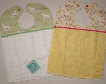 Set of 2 Baby Bibs - Cotton Terry - Lambs and Ducks