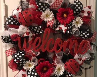 Ladybug Welcome Red, Black, and White Spring or Summer Door Wreath