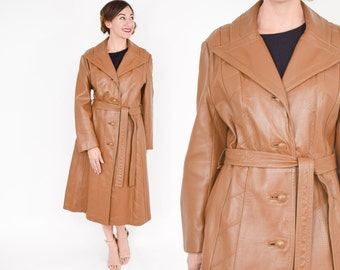 70s Brown Leather Trench Coat | Carmel Leather Long Coat | Medium Large
