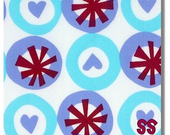 Follow Your Imagination By Prints Charming XOXO Love Hearts Red & Aqua Fat Quarter Quilt Fabric Sewing Fabric Retro Fabric