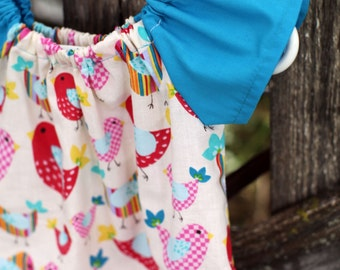 Colorful Birds Peasant Dress - Baby Girl