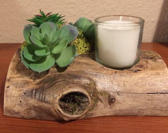 Log Candle holder with artificial succulents