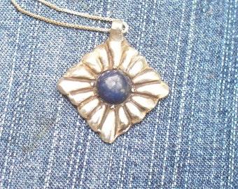 Denim Blue Lapis Lazuli Pendant Necklace - Unique Handmade Design in Solid Sterling Silver