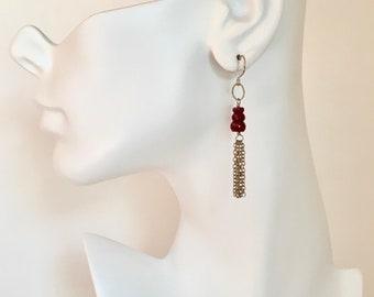 Ruby gemstone silver tassel dangle earrings