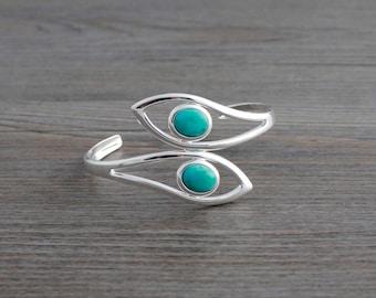 Natural Turquoise Adjustable Silver Leaf Bangle Bracelet