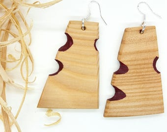 Carved Earrings, Natural Earrings, Larche Wood Earrings, Boho Earrings, Wine Red Earrings, Red Earrings, Triangle Earrings, Eco Earrings