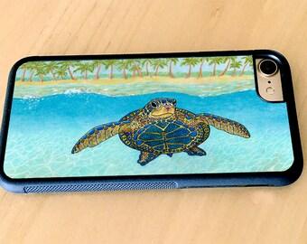 Turtle Paradise iPhone case, iPhone X, iPhone 7, iPhone 8, iPhone 8 Plus, iPhone 6, iPhone 6 Plus Baby, Turtles Rubber iPhone case
