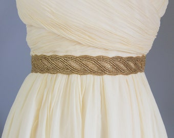 Gold  Metallic Lace with Champagne Satin Sash , Bridal Sash, Bridesmaid Sash , Flower Girl Sash -1824