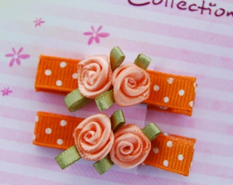 Fall fashion - Set of 2 Hair Clips -Orange  with white polka dots and satin roses  -  For girls of any age.