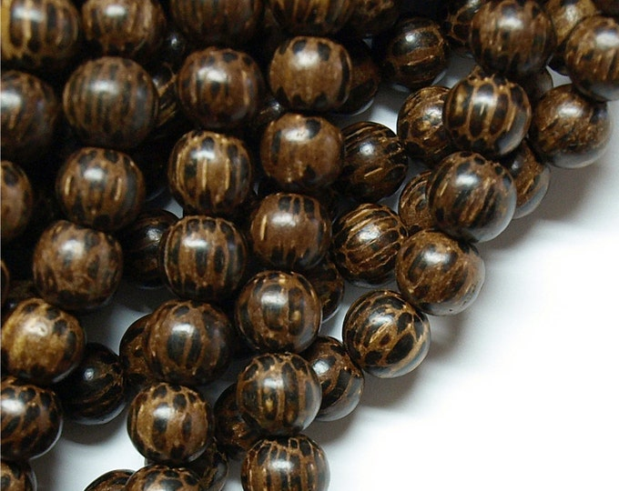 Wood Bead, Round 10mm, Old Palm - Five 16 Inch Strands (WDRD-10PM)