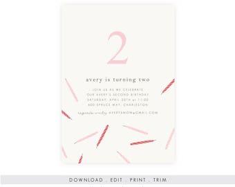 No-theme Girl's Birthday Invitation, Birthday Invitation Template, Digital Download, Birthday Template, Birthday Printable, Instant Download