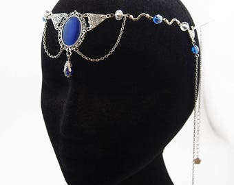 "Forehead / Headband / Tiara / Circlet / Hair ornament Accessory ""Flavie"" / Elven Elf Fairy Gothic / Color Silver, Blue or Grey"