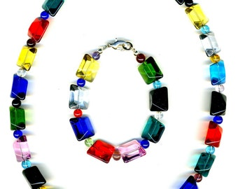 Chunky Rainbow Glass Nugget Necklace and Bracelet