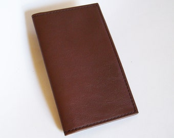 Brown Leather Checkbook Cover - Leather Checkbook Holder