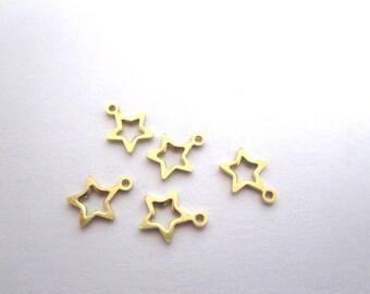 set of 5 brass star pendants