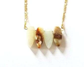 Agate and Gold Chain Necklace