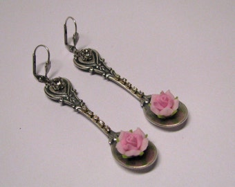 Victorian Style Sterling Silver Plated Brass Spoon Pink Rose Dangle Pierced Earrings, Silver Spoon, Spoon Jewelry, Pink Roses, Rhinestone