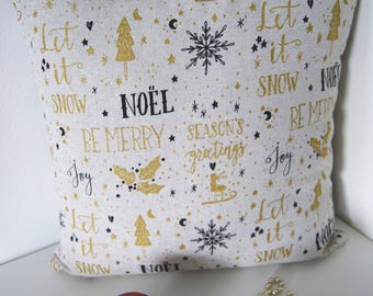Christmas Throw Pillow, Gold and Black, Cushion, Decorative Throw Pillow, Couch Bed Pillow
