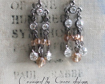 Dainty Drops ~ vintage assemblage earrings rhinestones pink crystal chandeliers one of a kind crowned by grace