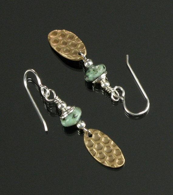 Bronze Metal Earrings Dangle Earrings, Unique Drop Earrings, Rustic Mixed Metal Earrings, Bronze Earrings, Metal Jewelry, Rustic Earrings