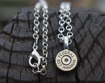 Bullet necklace bullet jewelry silver necklace Federal .357 magnum pendant necklace with Swarovski crystals 357 magnum necklace