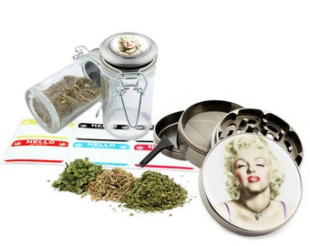 "Marilyn Monroe - 2.5"" Zinc Alloy Grinder & 75ml Locking Top Glass Jar Combo Gift Set Item # 50G012516-22"