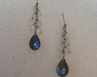 SALE Sterling Labradorite and Glass Earrings