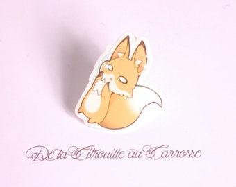 Kawaii style fox pin badge, teardrop