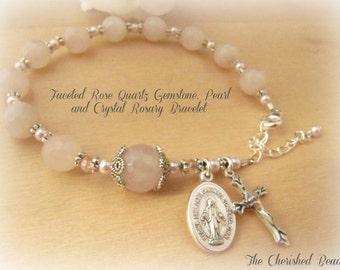 Faceted Rose Quartz Gemstone, Pink Pearl and Crystal Rosary Bracelet - Healing Gemstone - Love Stone