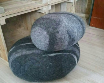 Felted pillow, pouf, floor cushion, rock, pebble, stone, set of two