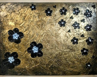Antique Gold Impasto with Chocolate and Silver Flowers