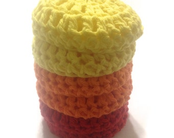 Crocheted Nylon Netting And Cotton Yarn Dish Scrubbies- Lot Of Six- Red, Orange, And Yellow