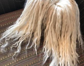 Suri Alpaca Locks, Combed Alpaca, 12 Inches, Doll Hair, White, Penelope