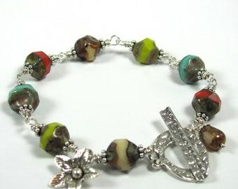 Indian Summer - Czech Glass, Hill Tribe, Sterling Silver Bracelet