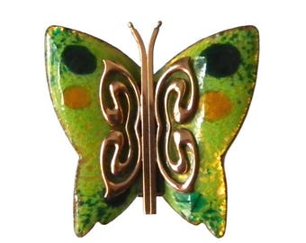 Vintage 1950s Enameled Copper Butterfly Brooch By Matisse
