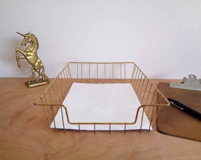 Vintage Gold Chrome Metal Wire Desk Letter Organizer - Legal Size File Tray - Industrial Office Decor