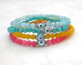 Evil eye gemstone bracelets, dainty stone bead bracelets, candy jade colorful bracelets, stacking stretch bracelets, girly pastel armband