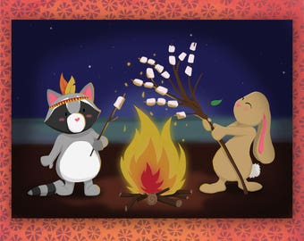 Roasting marshmellow on a campfire with friends