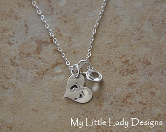 Tiny Feet Heart - Hand Stamped Sterling Silver Necklace - Miscarriage, Infant Loss
