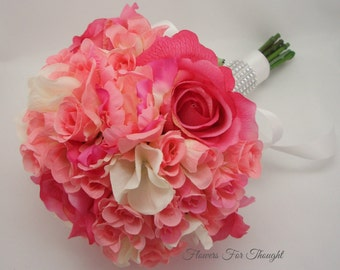Rose Bouquet Pink Wedding Flowers Real Touch, hot pink White Hydrangea Bride Bridesmaid bouquet
