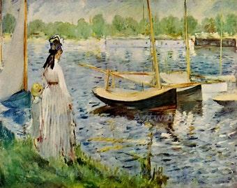 """Claude Monet """"Seine Near Argenteuil"""" 1874 Reproduction Print Paris Woman Boy Standing on Shore Sail Boats"""