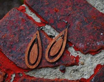 Teardrop Sapele Wood Earrings
